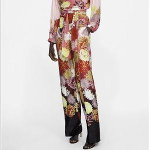 Zara floral printed pants